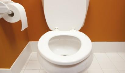 Bathroom Toilet from Above Tissue Paper Tile Floor