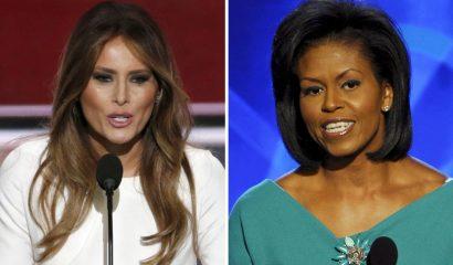 """STX108 CLEVELAND (ESTADOS UNIDOS), 19/07/2016.- Como fotográfico que muestra a la esposa de Donald Trump, Melania Trump (i), y a la primera dama estadounidense, Michelle Obama, durante sus discursos en en el pleno de la Convención Nacional Republicana en Cleveland (EEUU) el 18 de julio de 2016, y en la Convención Nacional Demócrata de Denver (EEUU), el 25 de agosto de 2008, respectivamente. El discurso pronunciado ayer, 18 de julio de 2016, por Melania Trump en el pleno de la Convención Nacional Republicana guardó tales similitudes con uno de Michelle Obama en 2008 que algunos medios estadounidenses acusaron de """"plagio"""" a la esposa del candidato republicano a la presidencia estadounidense. EFE/STF"""