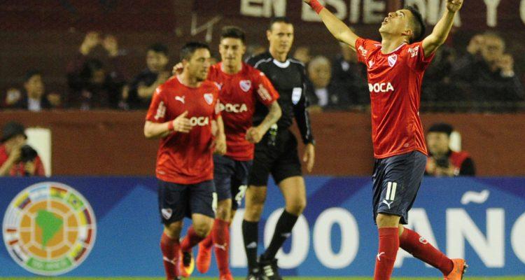 Buenos Aires: Leandro Fernández festeja su gol, el primero del partido que enfrenta a Indendiente con Lanús por la Copa Sudamericana. Foto: Ramiro Gomez/Tèlam/jcr 25/08/2016