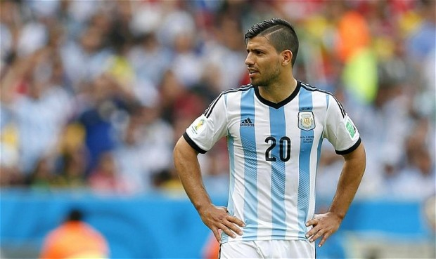 Group F - Nigeria vs Argentina...epa04280657 Sergio Aguero of Argentina reacts during the FIFA World Cup 2014 group F preliminary round match between Nigeria and Argentina at the Estadio Beira-Rio in Porto Alegre, Brazil, 25 June 2014.  (RESTRICTIONS APPLY: Editorial Use Only, not used in association with any commercial entity - Images must not be used in any form of alert service or push service of any kind including via mobile alert services, downloads to mobile devices or MMS messaging - Images must appear as still images and must not emulate match action video footage - No alteration is made to, and no text or image is superimposed over, any published image which: (a) intentionally obscures or removes a sponsor identification image; or (b) adds or overlays the commercial identification of any third party which is not officially associated with the FIFA World Cup)  EPA/JORGE ZAPATA   EDITORIAL USE ONLY