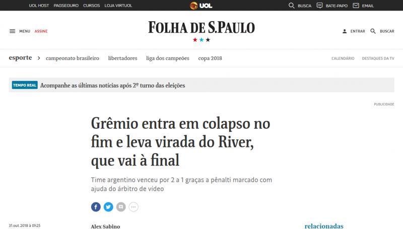 Mirá lo que dice la prensa brasileña de la eliminación de Gremio ... 83931524fd2da